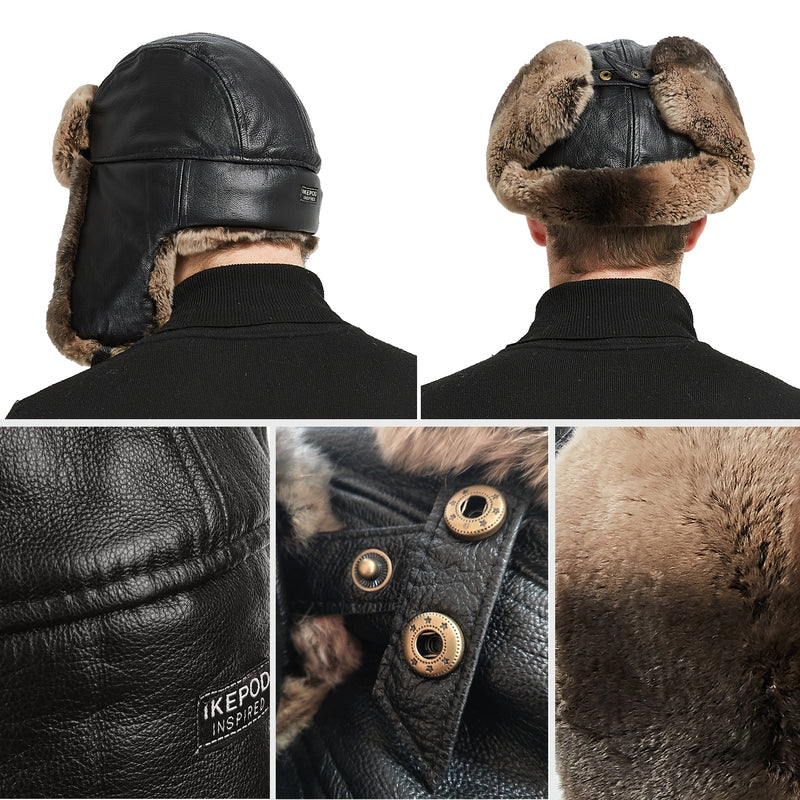 7469f3605 37 Sheep Leather Rabbit Fur Aviator Russian Ushanka Ear Flap Winter Men  Trapper Hat