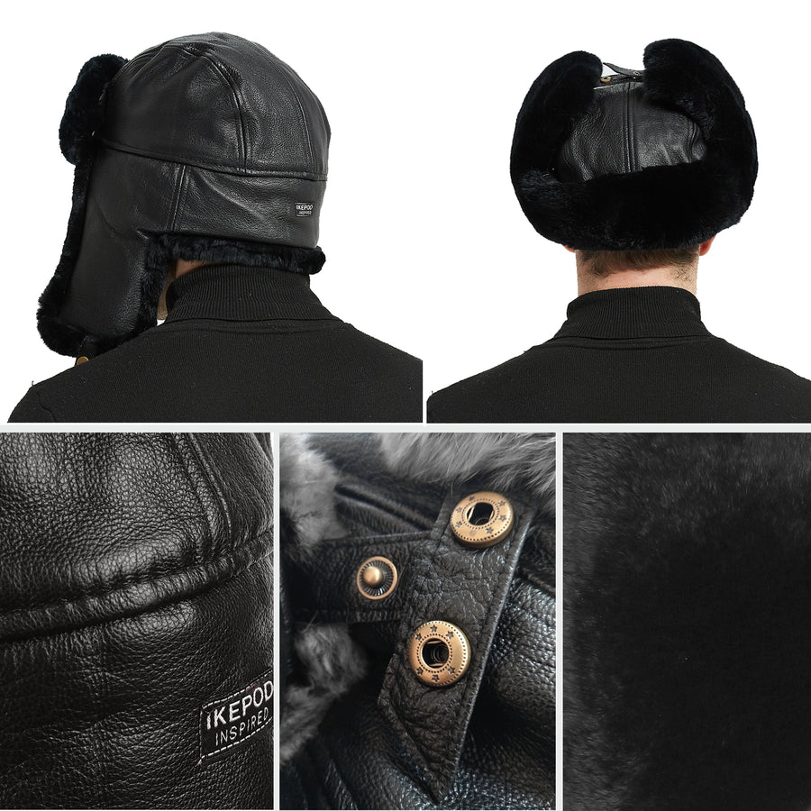 Sheep Leather Rabbit Fur Aviator Russian Ushanka Ear Flap Winter Men Trapper Hat