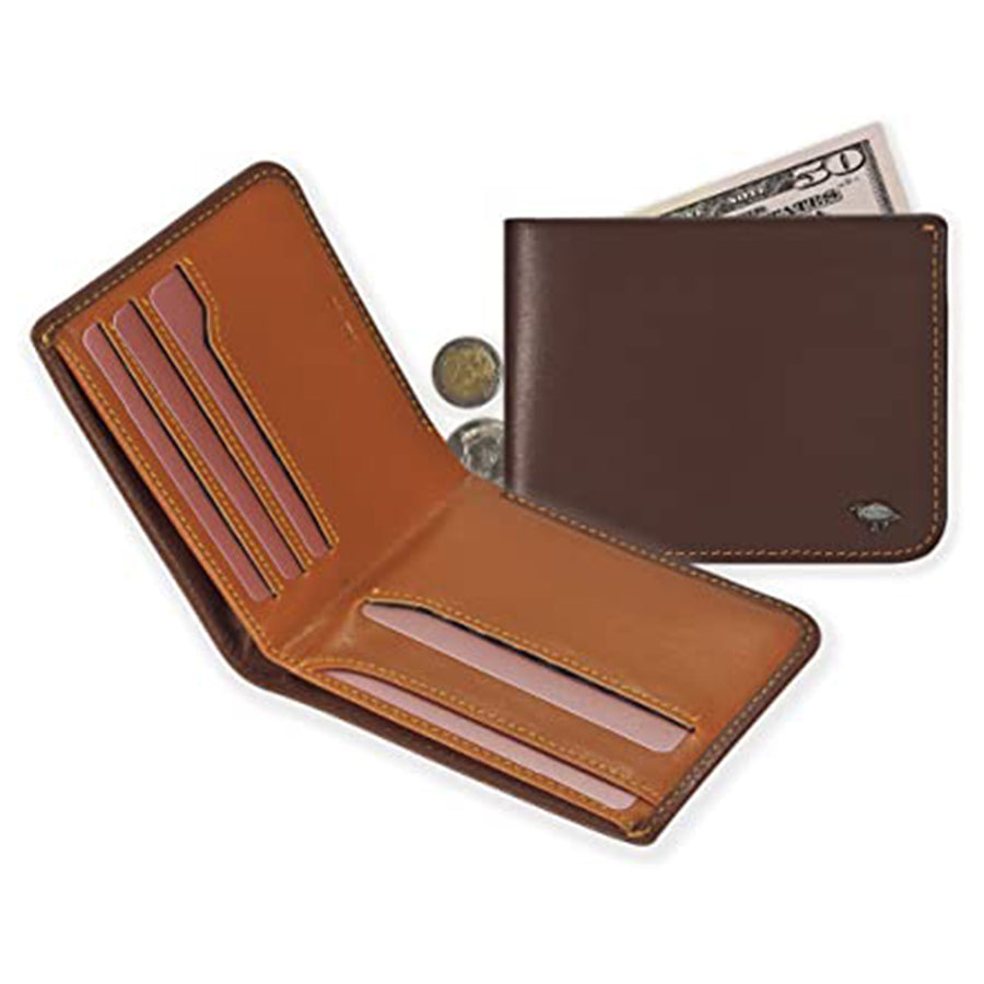 7.IKEPOD Italy Leather Slim Hide Men Compact Bifold Wallet Billfold
