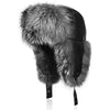 25.IKEPOD Sheep Leather Aviator Russian Winter Raccoon/Fox Fur Men Trapper Hat Cap