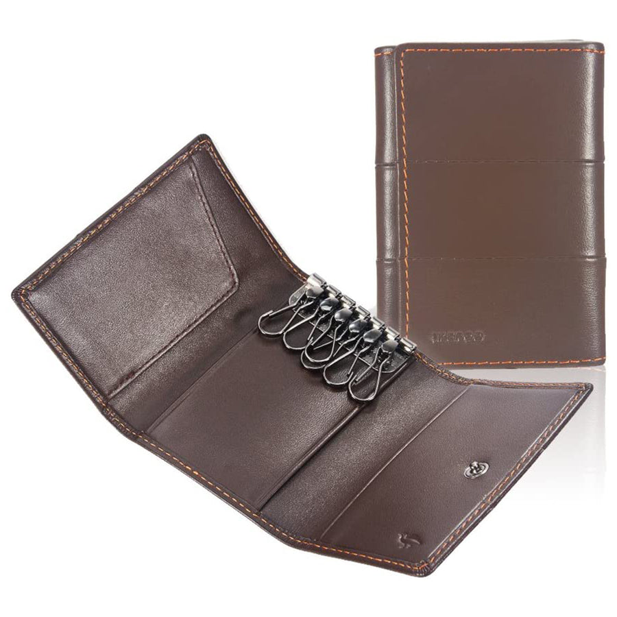 1.Ikepod Tri-fold Key Wallet(Full-grain Leather)