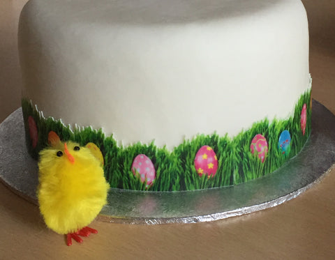 Easter egg cake decoration side panel