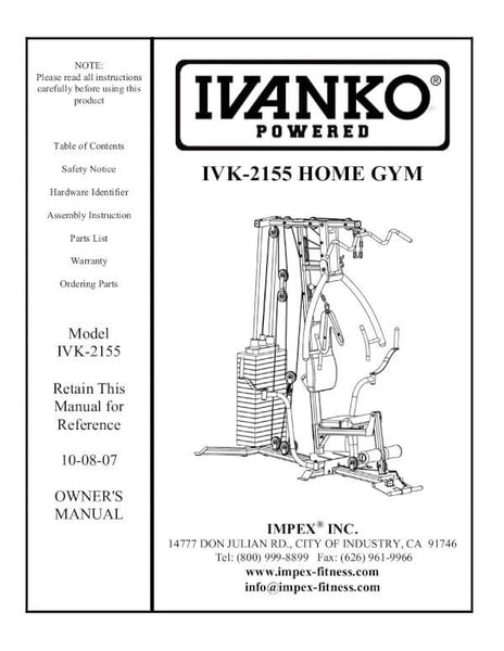IVK-2155 Ivanko home gym users manual cover