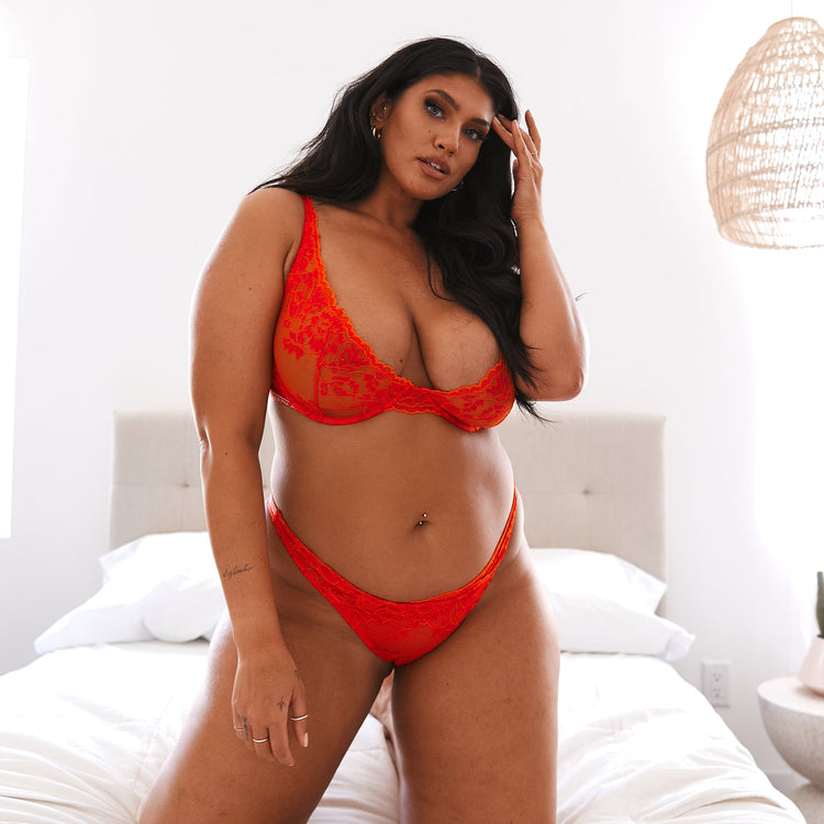 Latecia has found her perfect bra size with the Red Luxe Balcony Set