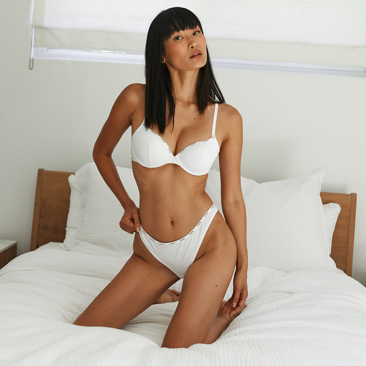 Miki has found her perfect bra size with our White T Shirt Bra