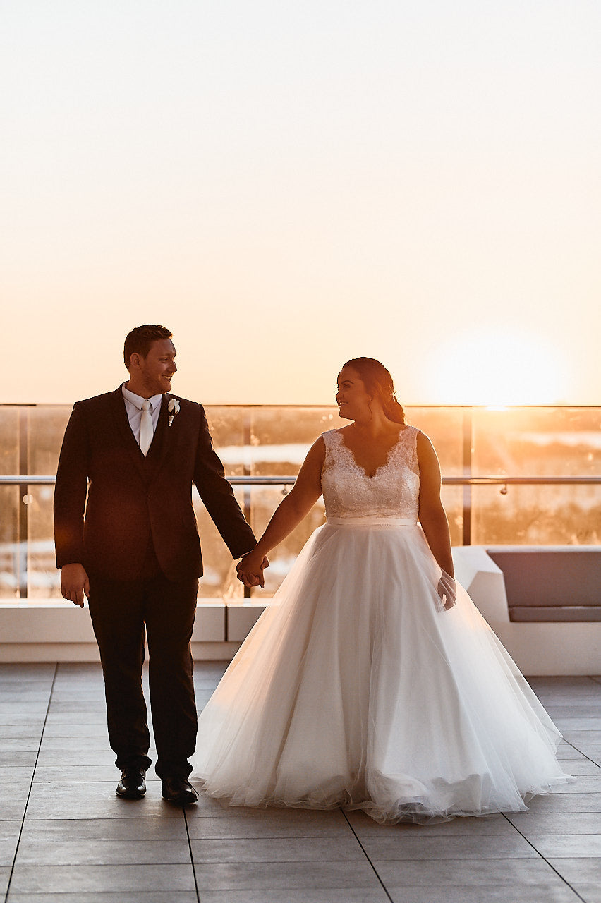 Bec & Ryan's Aloft Hotel Perth Wedding | Bride Wearing Custom Samantha Wynne Princess Wedding Dress