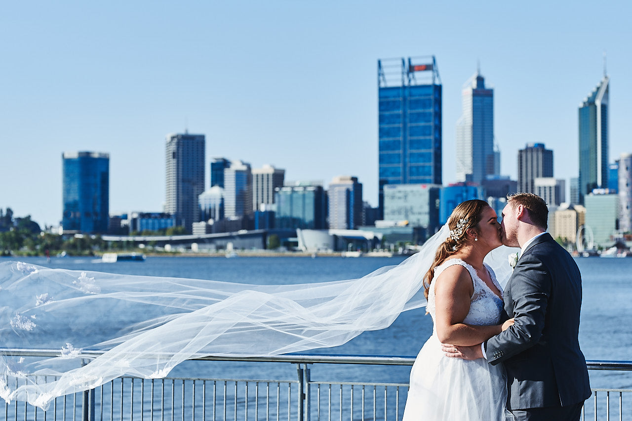 Bec & Ryan's Perth Wedding | Bride and Groom at Swan River, Perth