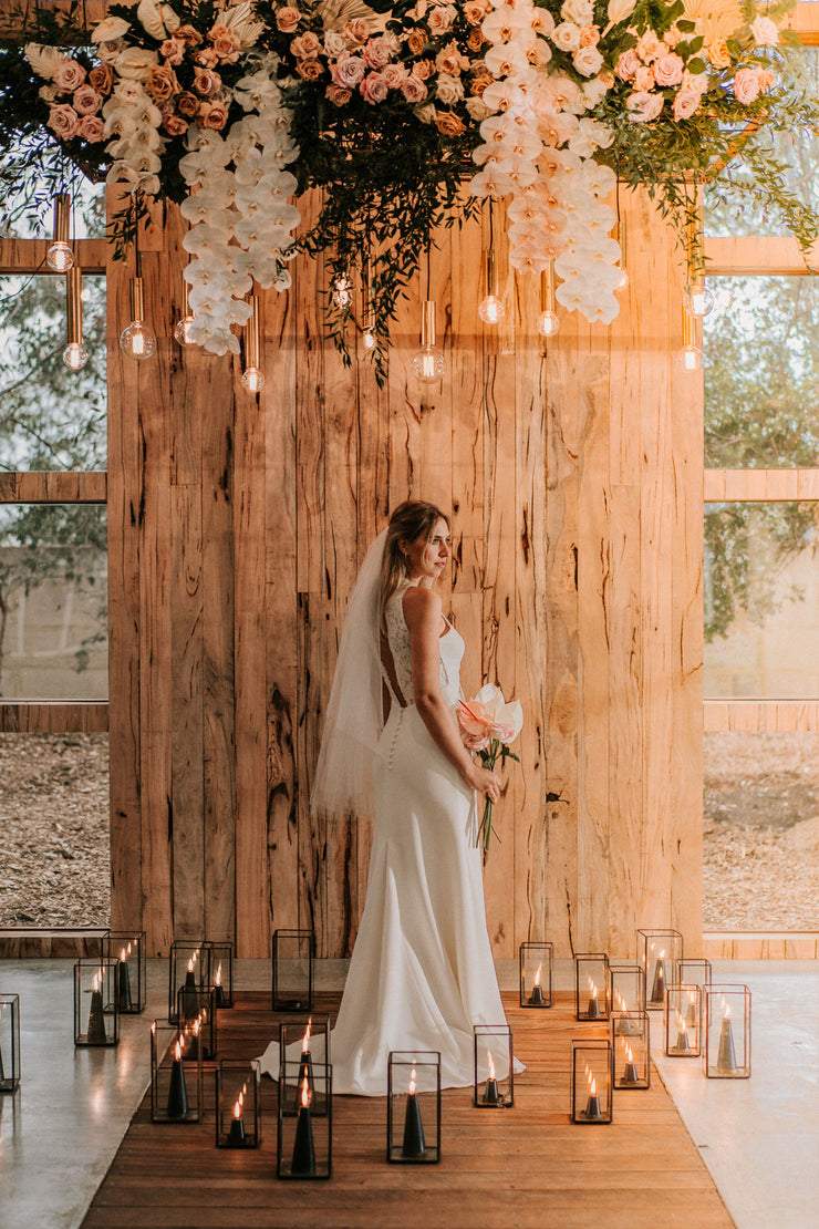 Jillian by Samantha Wynne | Halter Wedding Dress with Sheer Lace Panel Detail