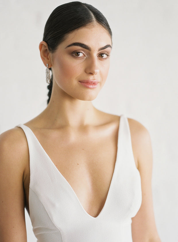 Claire by Samantha Wynne | Simple, Minimalist Wedding Dress with Plunge Neckline and Front Split