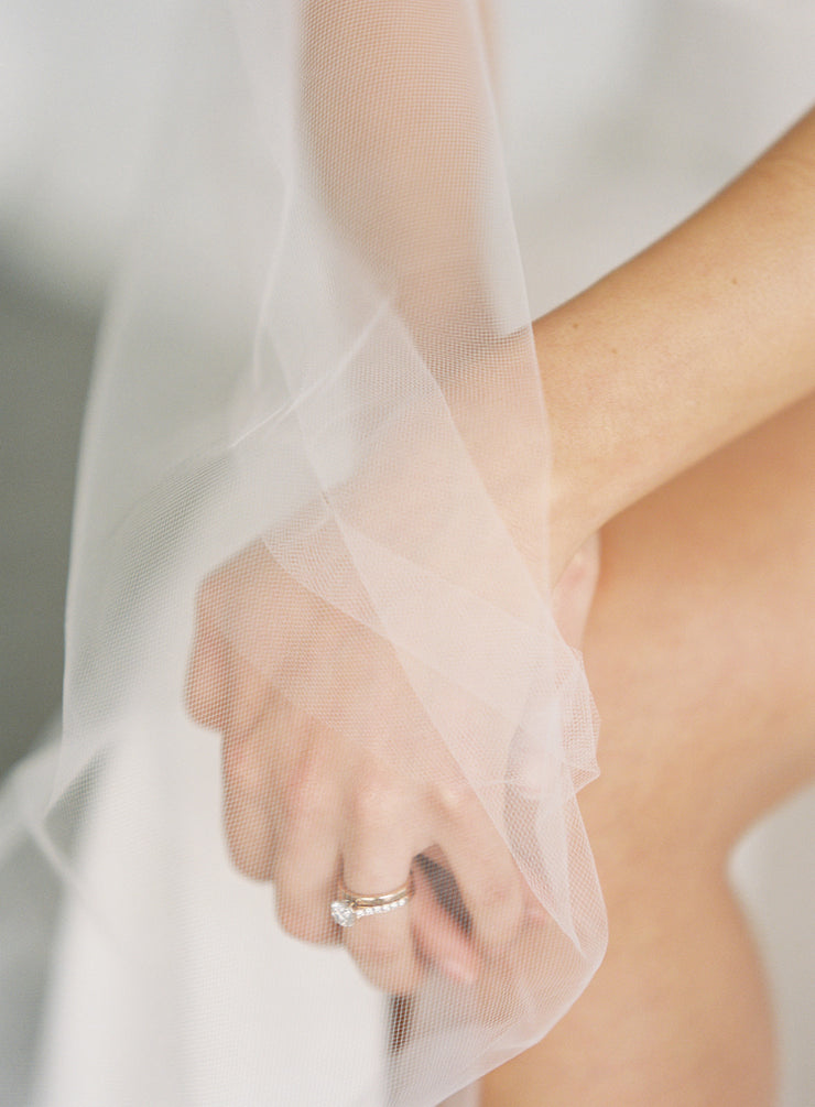 Float down the aisle in our soft English tulle Intermediate veil.