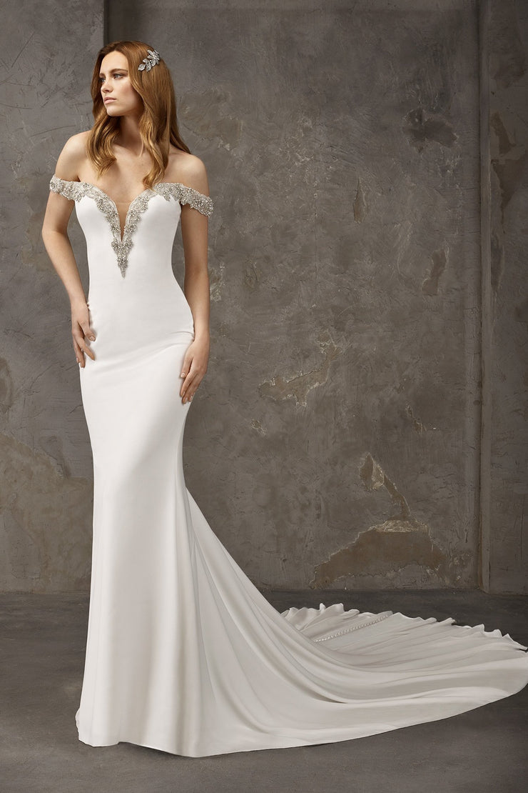 Mermaid wedding dress with long train, with off the shoulder and plunging v neckline
