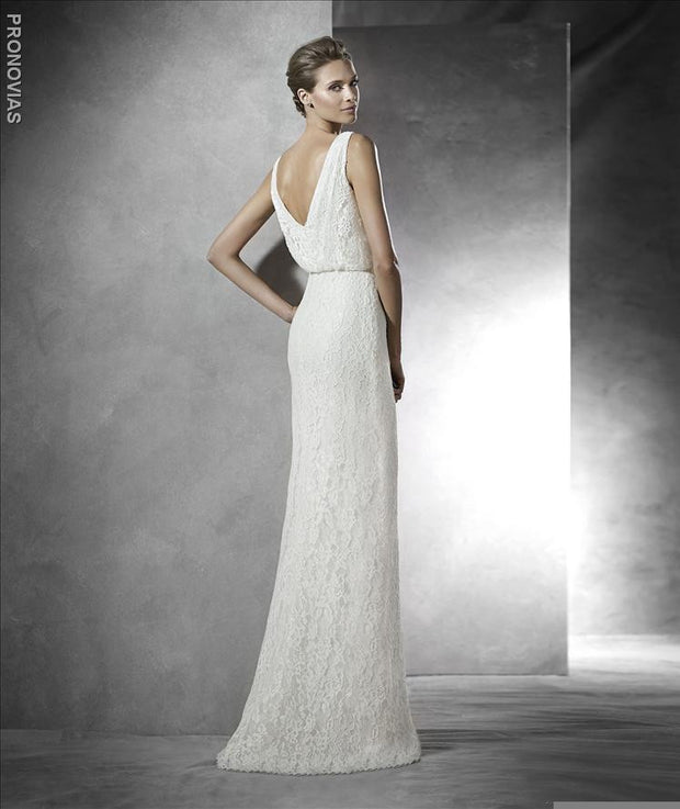 Pronovias Preslie is a stunning ivory lace V Neck wedding dress