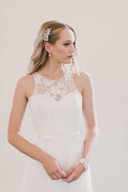 Simple A line wedding dress with a sweetheart neckline.