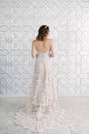 Lace wedding dress with soft v-neckline