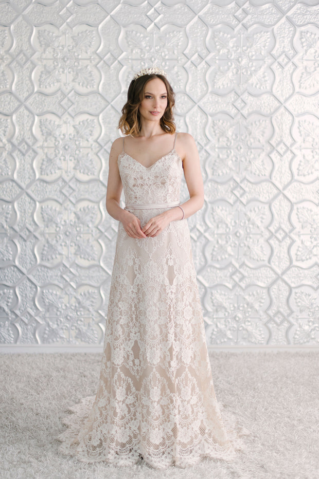 Wedding Dresses Online Lace wedding dress with soft v-neckline
