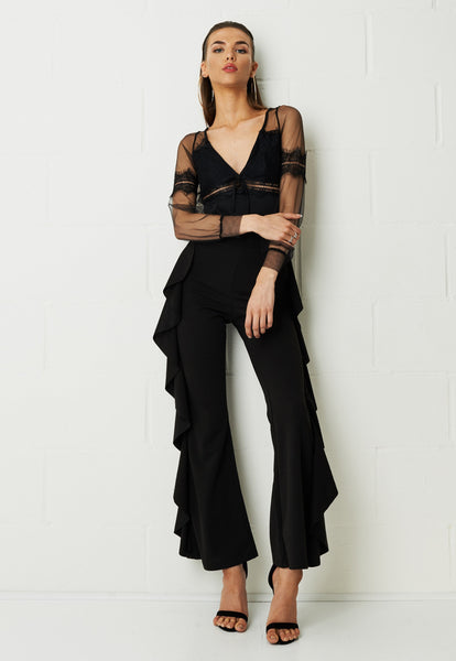 Robyn Side Frill Wide Leg Crepe Trousers - frontrow