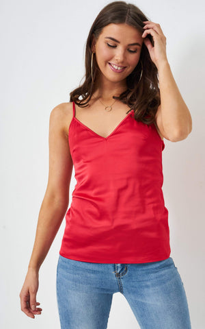 Lucie Red Satin Cami Top - love frontrow