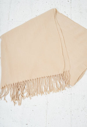 Beige Fringed Soft Scarf - love frontrow