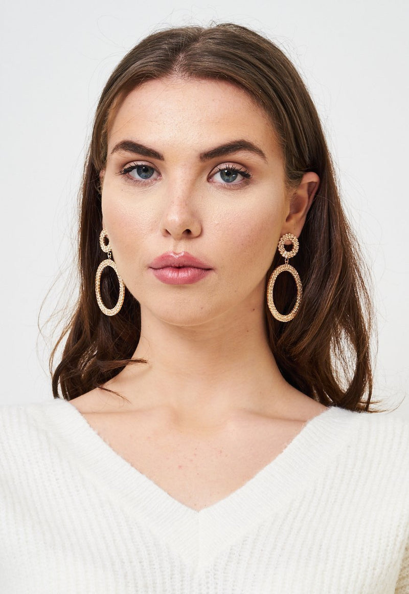 Diamante Gold Hoop Earrings - love frontrow