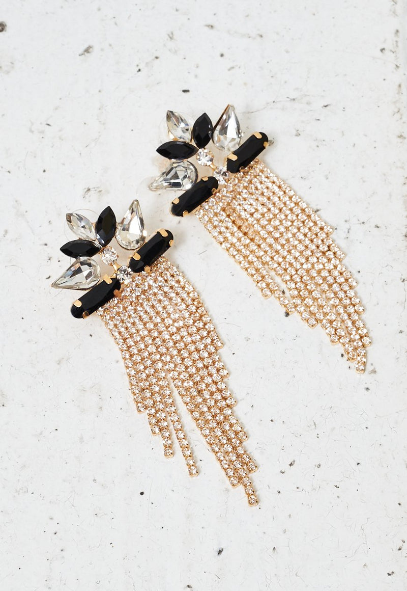 Gold And Black Diamante Chainmail Earrings - love frontrow
