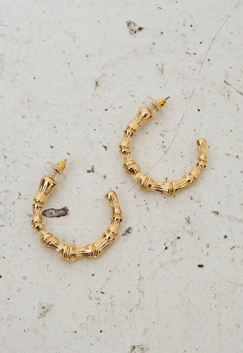 Gold Bamboo Hoop Earrings - love frontrow