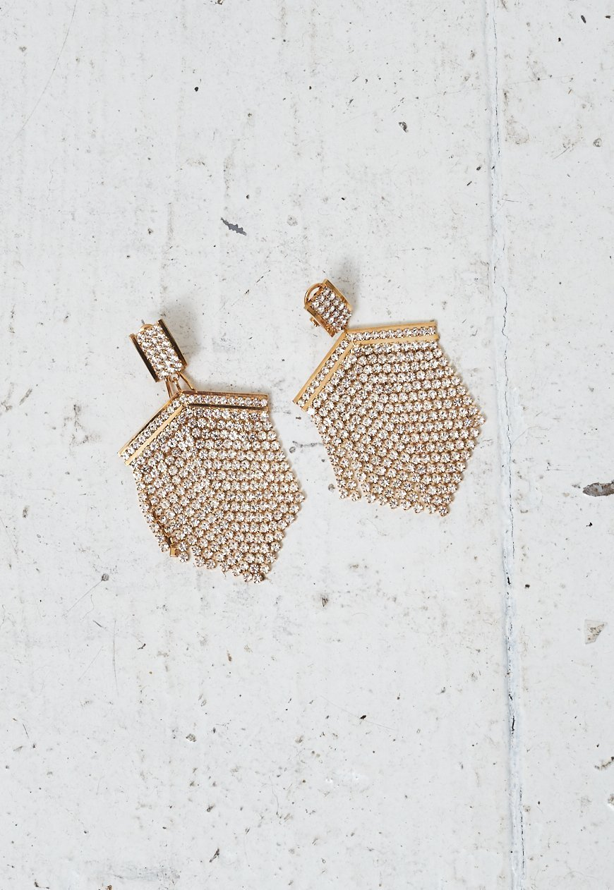 Gold Diamante Chainmail Drop Earrings - love frontrow