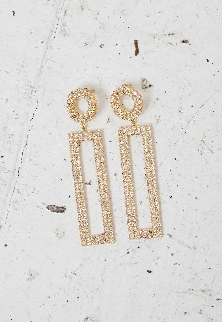 Gold Diamanté Rectangular Earrings - love frontrow
