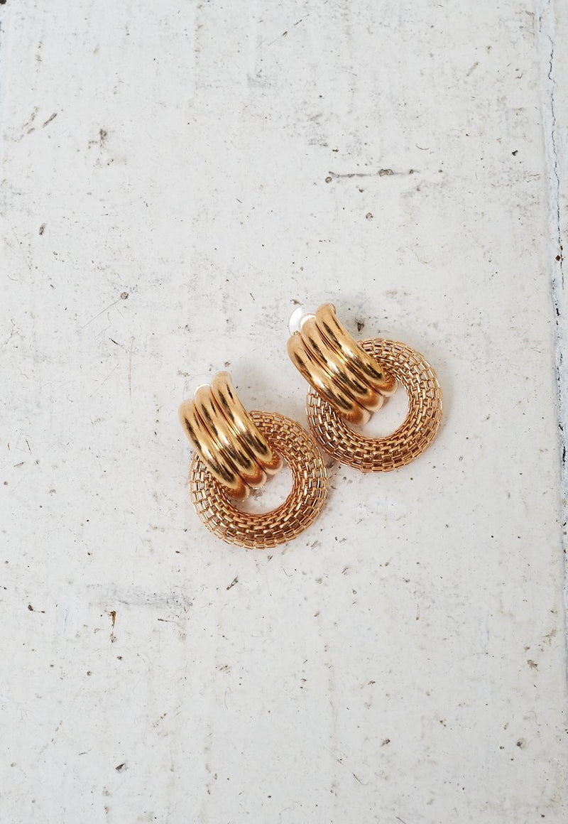 Gold Statement Textured Hoop Earrings - love frontrow