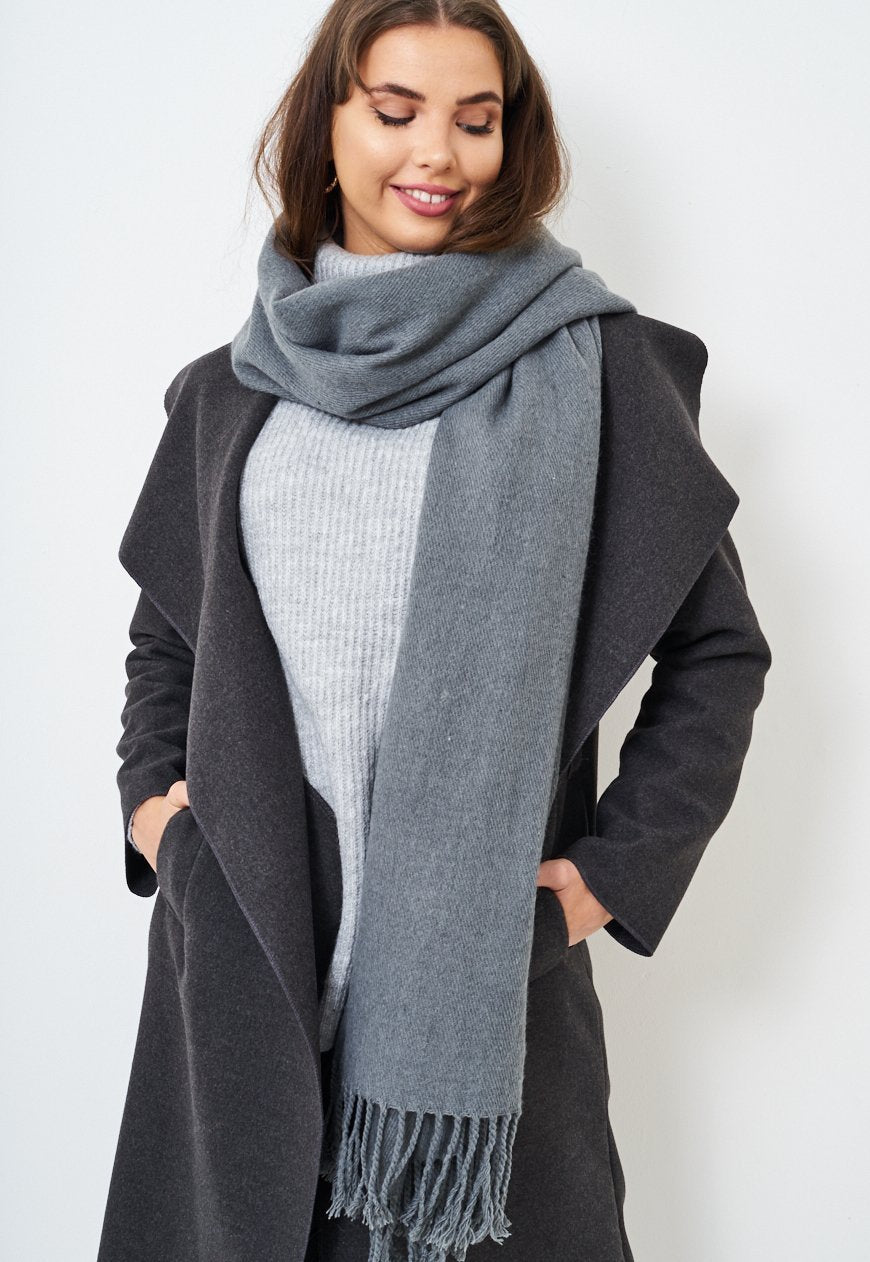 Grey Fringed Soft Scarf - love frontrow