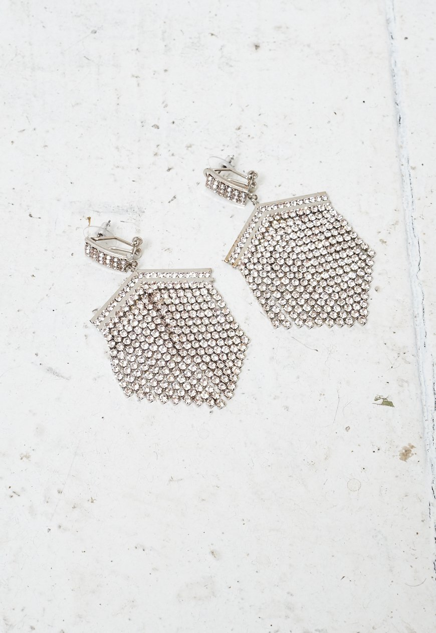 Silver Diamante Chainmail Drop Earrings - love frontrow