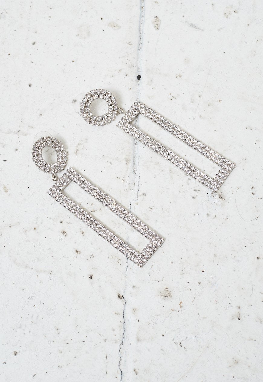 Silver Rectangular Diamante Earrings - love frontrow