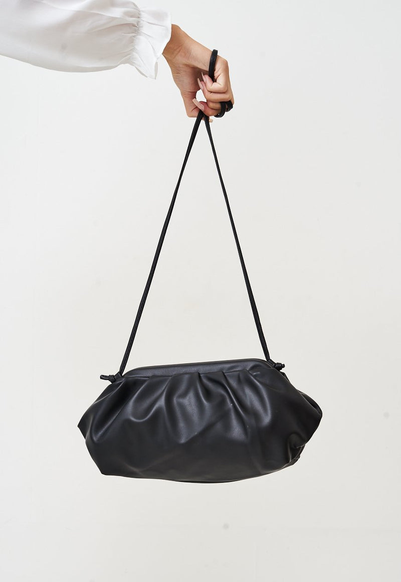 Pouch Medium Gathered Leather Clutch In Black - love frontrow