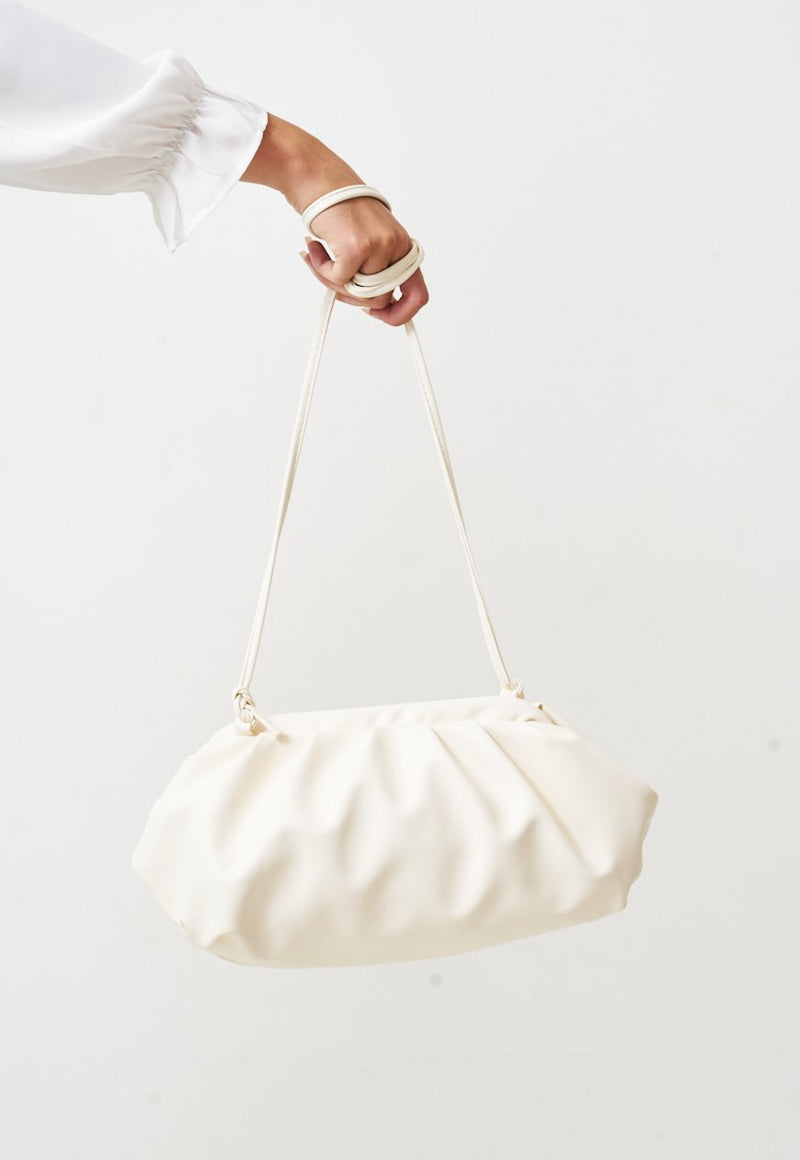 Pouch Medium Gathered Leather Clutch In White - love frontrow