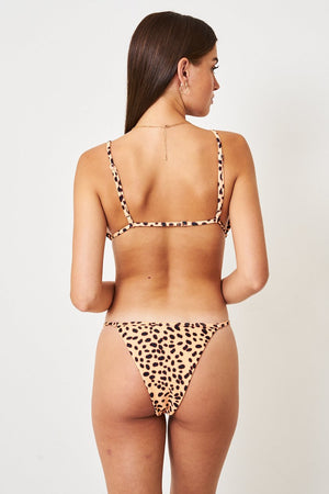 Tan Leopard Print Tanga Bikini Bottom - love frontrow