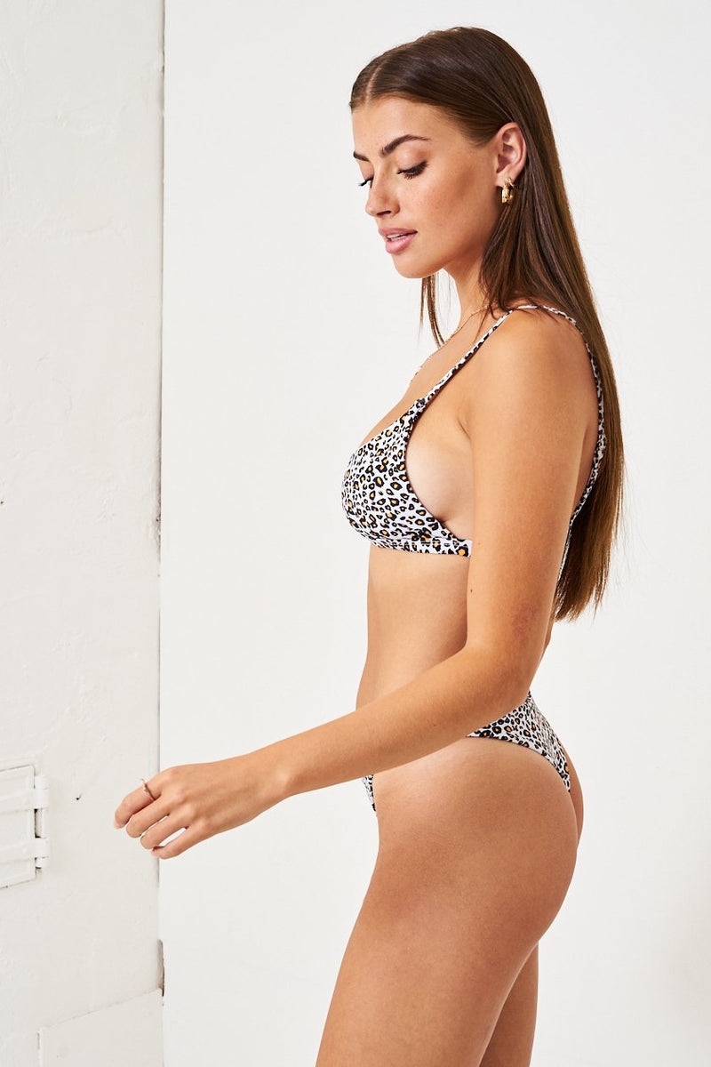 White Leopard Print Thong Bikini Bottom - love frontrow