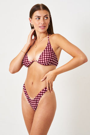 Red Gingham Checked Underwired Bikini Top - love frontrow