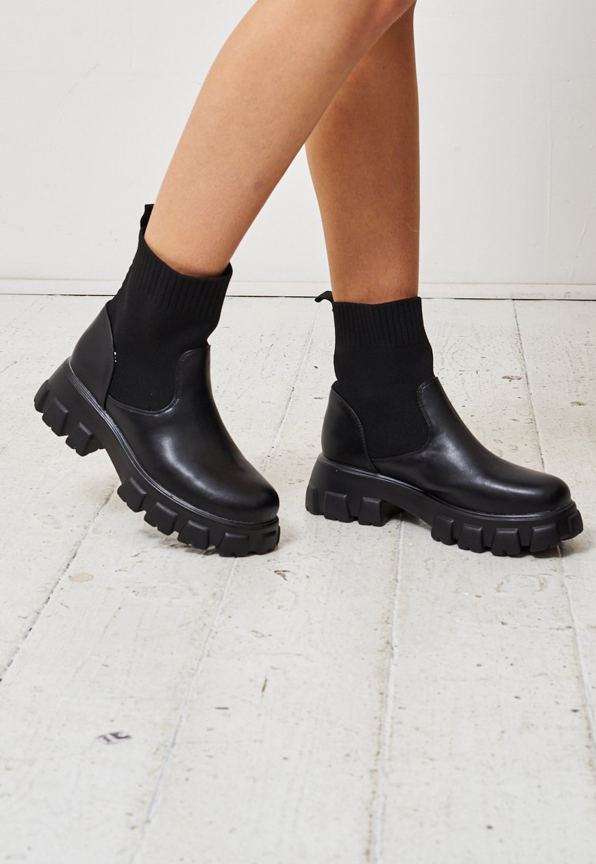 Black Chunky Sole Ankle Sock Boots - love frontrow
