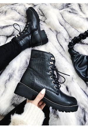 Black Croc Print Lace Up Ankle Boots - love frontrow