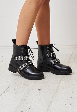 Black Diamante Strap Ankle Boots - love frontrow
