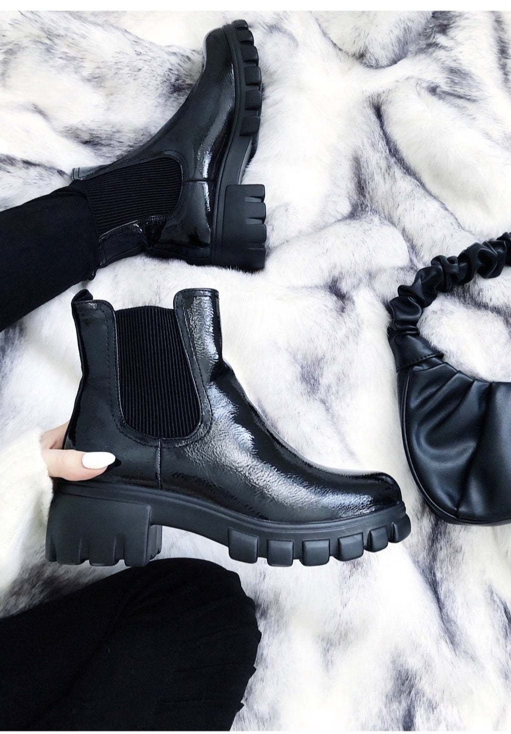 Black Patent Chelsea Chunky Sole Ankle Boot - love frontrow