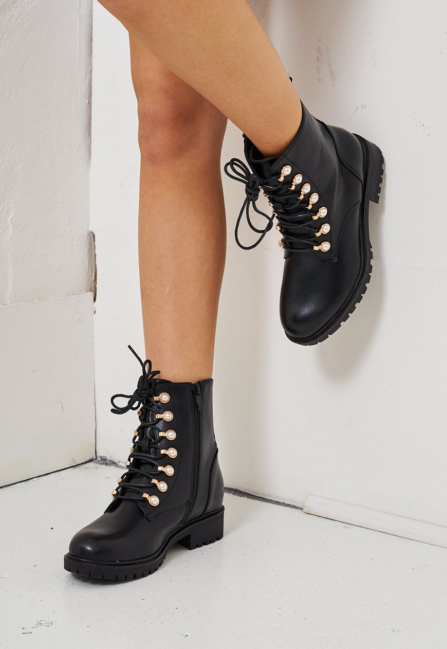 Black Pearl Detail Ankle Boots - love frontrow