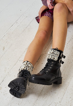 Black Pearl Strap Detail Ankle Boots - love frontrow