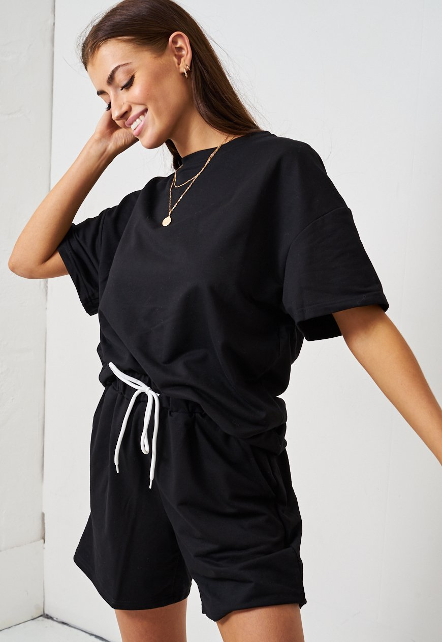 Black Jersey Loungewear Shorts & T-Shirt Set - love frontrow