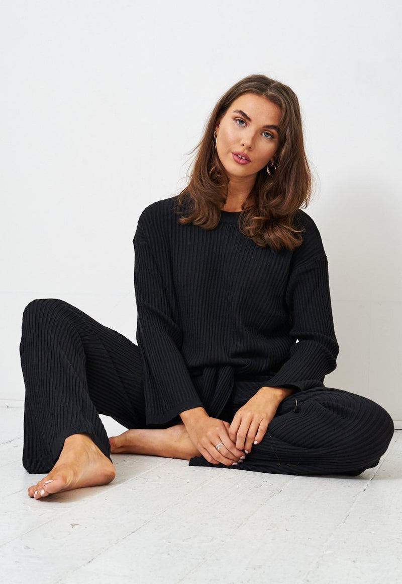 Black Top & Trousers Loungewear Co-Ord Set - love frontrow
