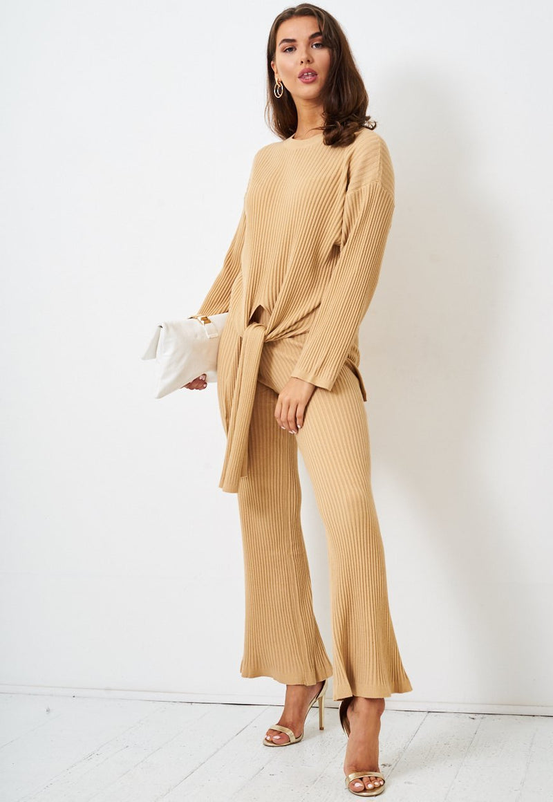 Camel Top & Trousers Loungewear Co-Ord Set - love frontrow