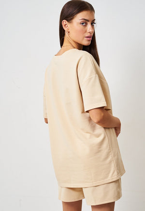 Cream Jersey Loungewear Shorts & T-shirt Set - love frontrow