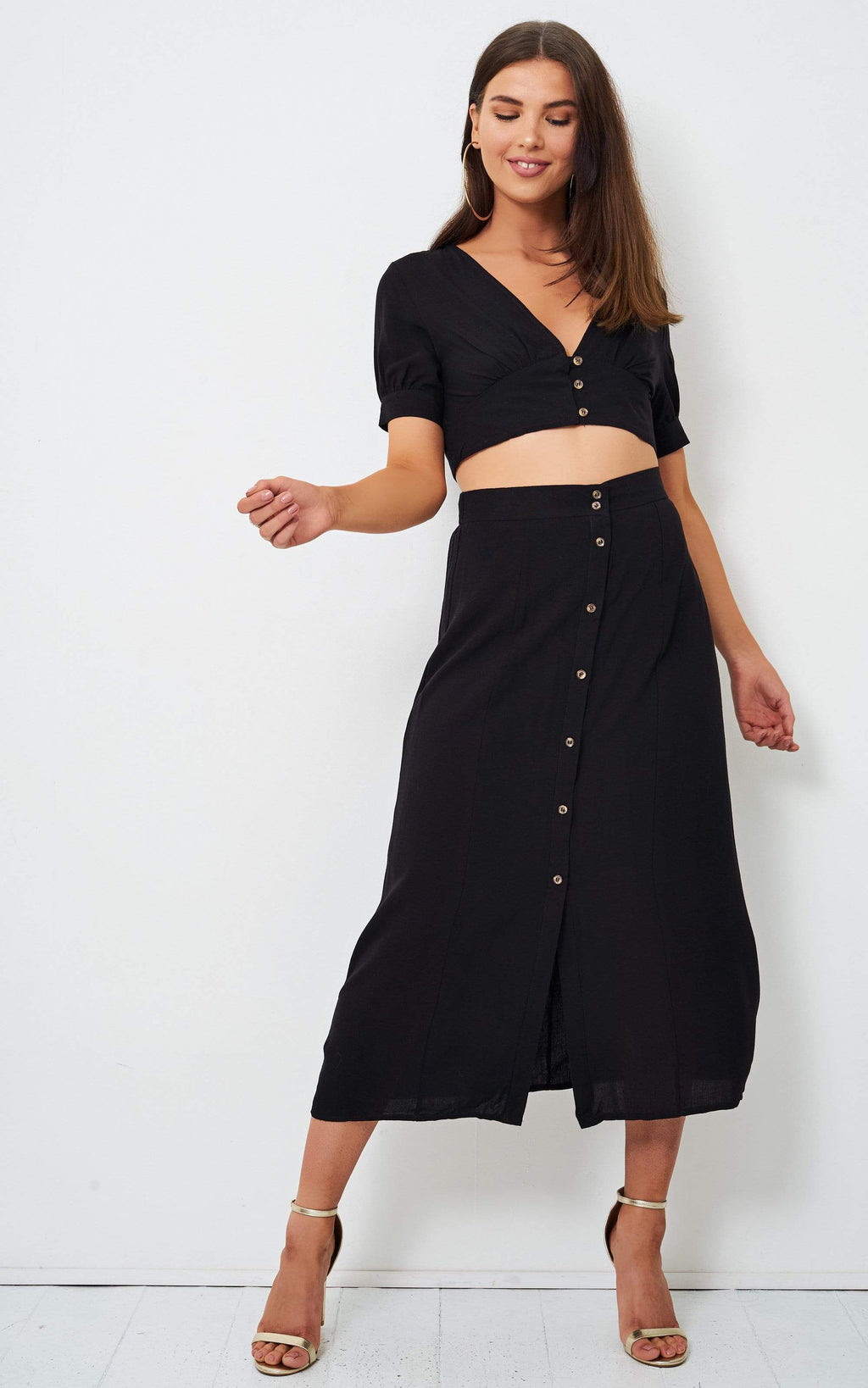 Eden Black Linen Button Midi Skirt - love frontrow
