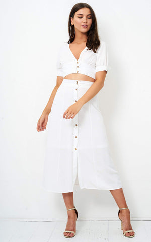 Eden White Linen Button Midi Skirt - love frontrow