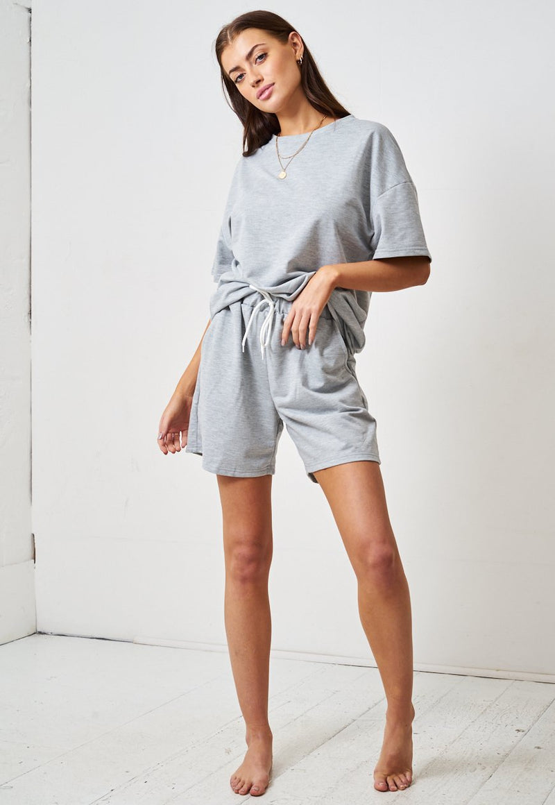 Grey Jersey Loungewear Shorts & T-Shirt Set - love frontrow