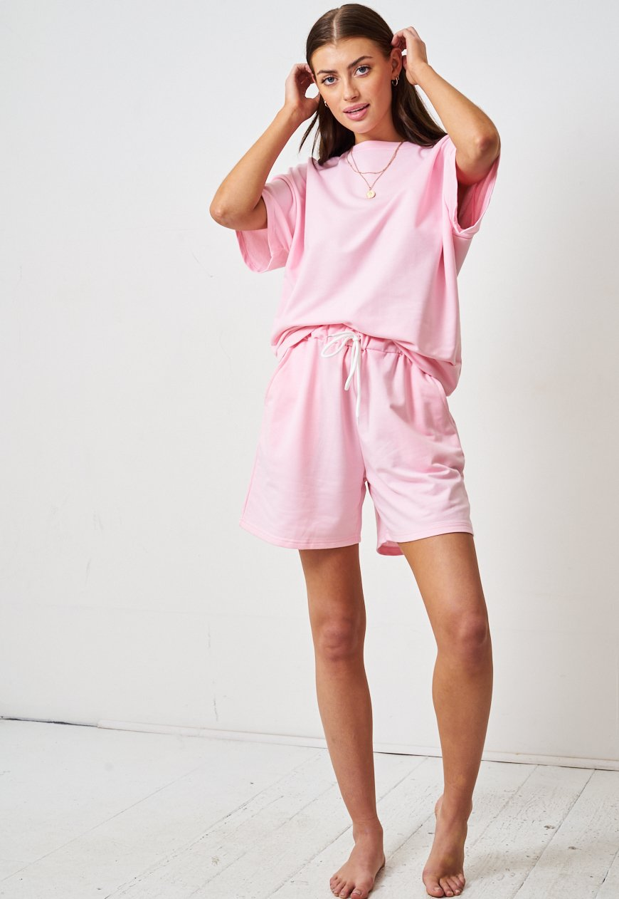Pink Jersey Loungewear Shorts & T-Shirt Set - love frontrow